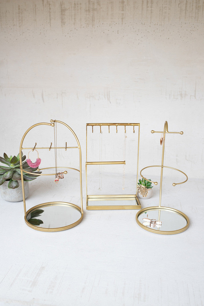 Gold Jewelry Stands with Mirror Base
