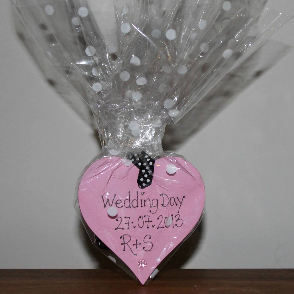 Handpainted wooden heart wedding favours