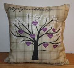 grandchildren family tree with purple hearts on a beige tartan cushion