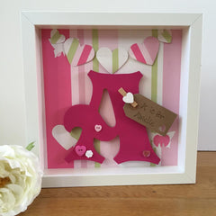 Pink and Green Striped Initial Frame