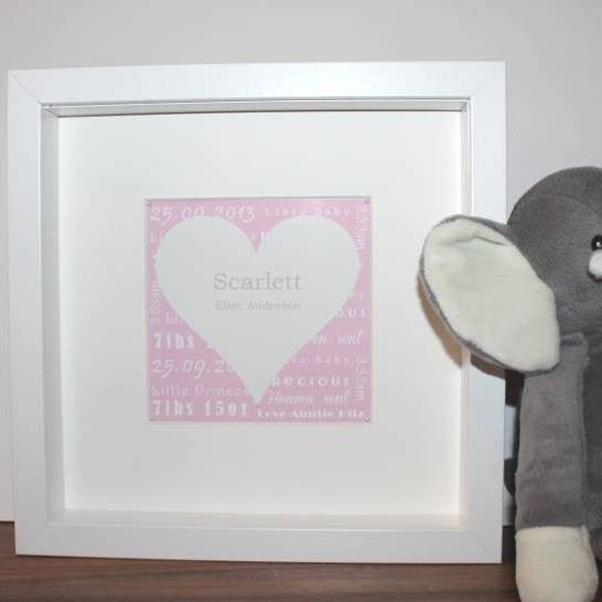 New baby personalised heart print framed in a 25 x 25 cm square box frame