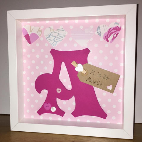 Pink and White Spotty Initial Frame