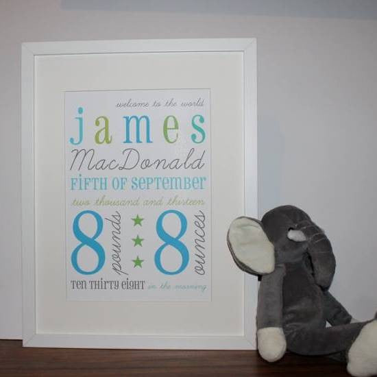 New baby personalised framed print in blue and green with new baby details including name, date and time of birth