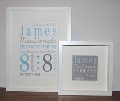 New baby personalised framed print in blue and grey with new baby details including name, date and time of birth