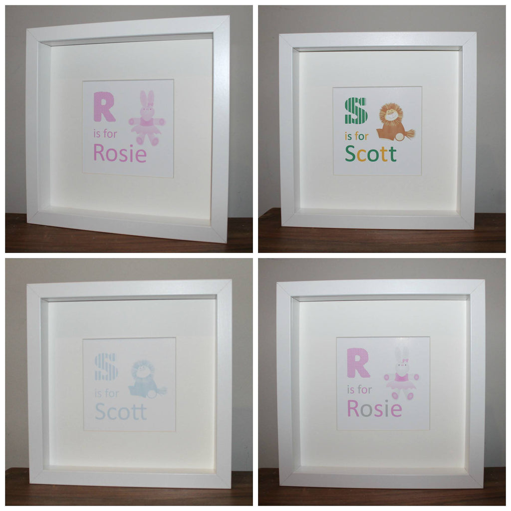 Framed print of babies initial and name with either a lion or a bunny