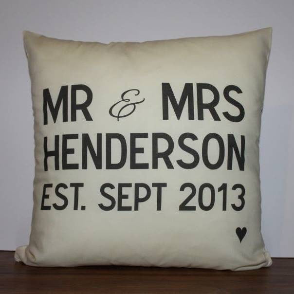 Mr and Mrs est since personalised wedding cushion