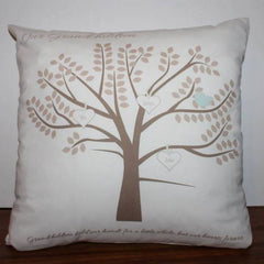 Personalised cushion with a tree and hearts with grandchildrens names on them