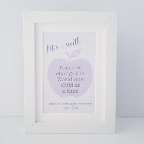 Personalised 'Teachers change the World one child at a time' mini thank you frame