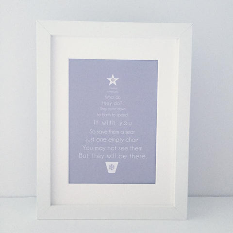 'Christmas in Heaven, what do they do?' Framed Christmas Tree Print