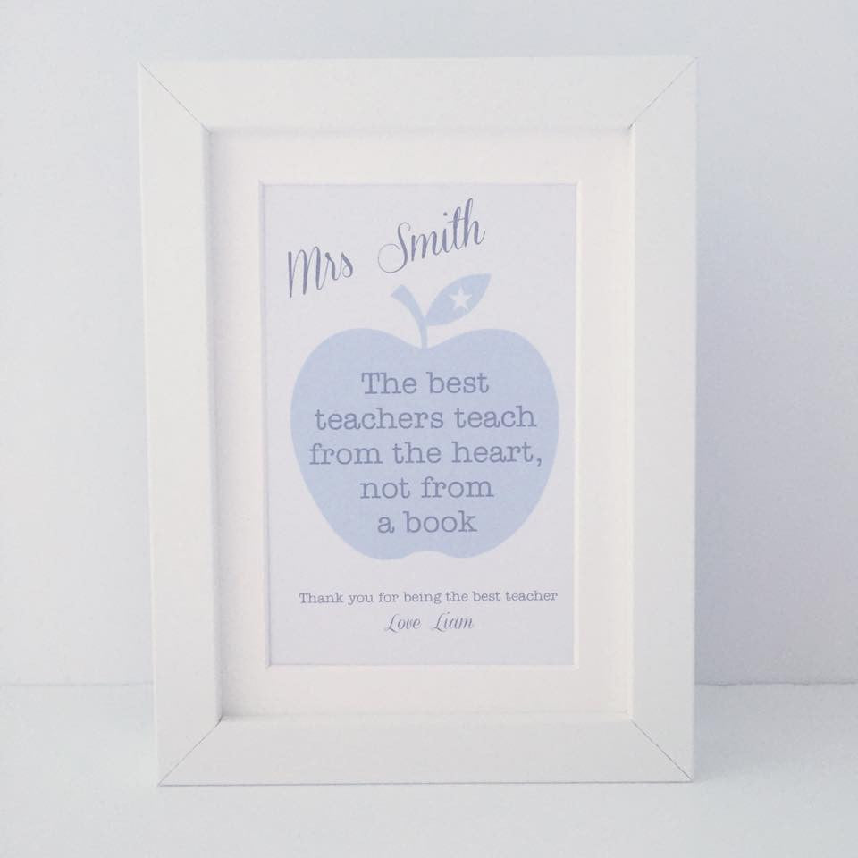 Personalised 'The best teachers teach from the heart...' mini thank you frame