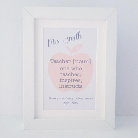 Personalised teacher definiton mini thank you frame