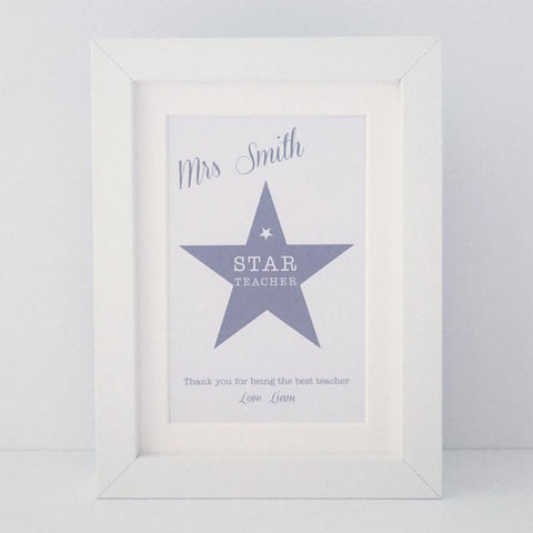 Personalised 'Star teacher' mini thank you frame
