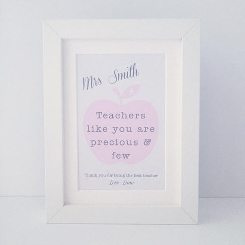 Personalised 'Teachers like you are precious & few' mini thank you frame