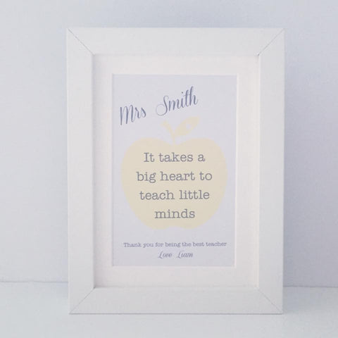 Personalised 'It takes a big heart to teach little minds' mini thank you frame