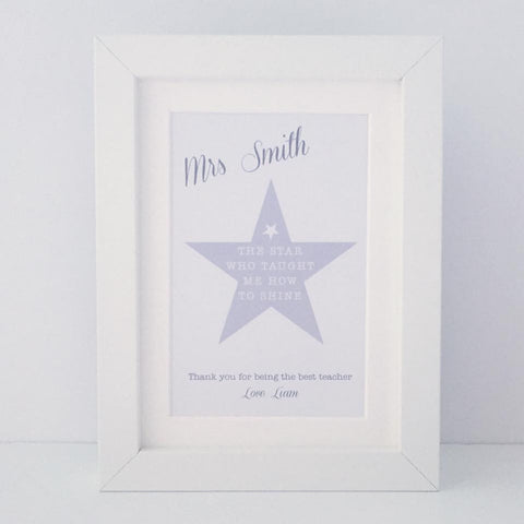 Personalised 'The star who taught me how to shine' mini thank you frame