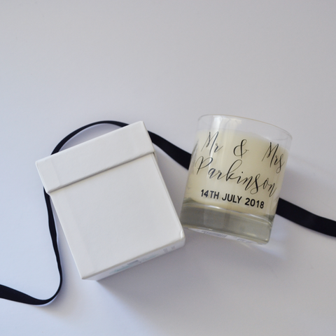Personalised wedding candle | scented candle for the home | natural soy eco wax | wedding gift, birthday, new home, engagement