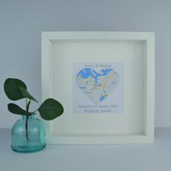 Map heart Wedding | Engagement personalised gift | Travel art