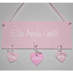 Handpainted wooden plaque in pink for a baby girl and personalised with babies details