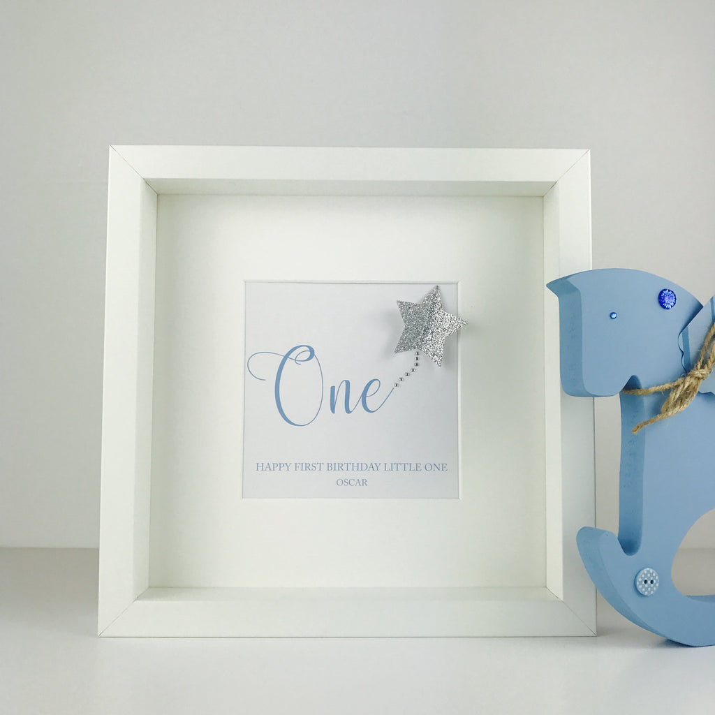 First birthday boy keepsake | personalised box frame gift | baby's first birthday gift
