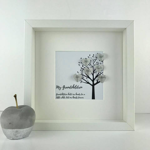 New personalised grandchildren family tree frame | grandchildren keepsake gift | personalised grandparents frame