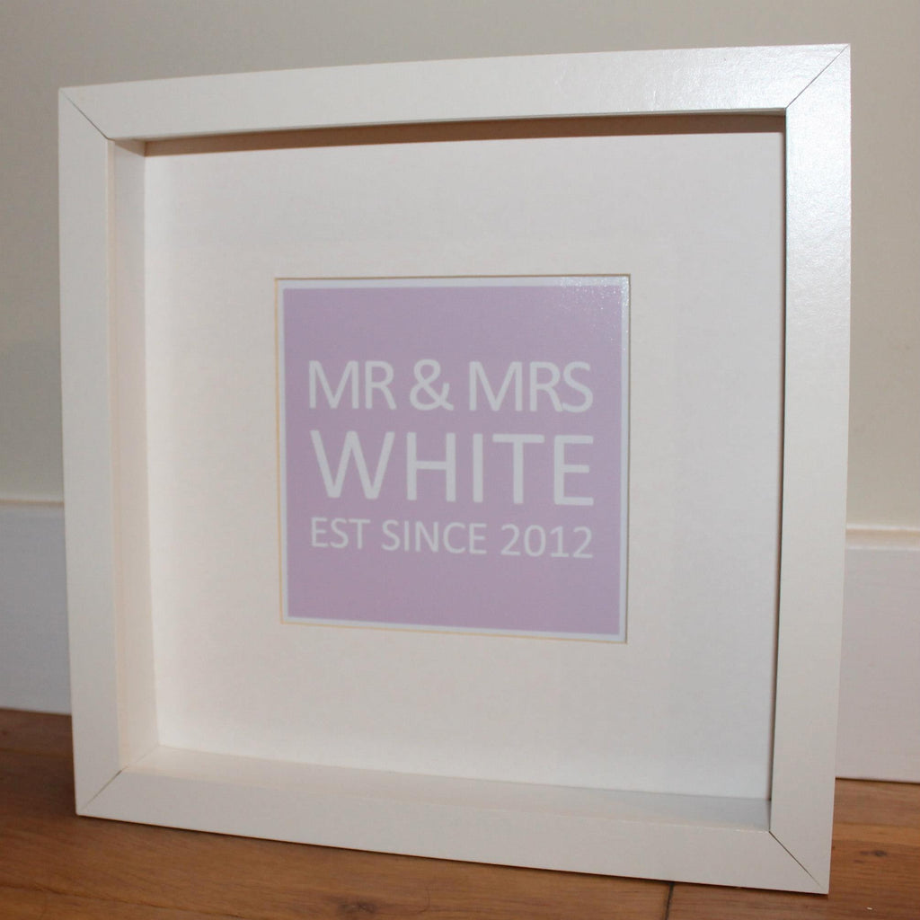 Personalised square print, Mr and Mrs est since in pink and white