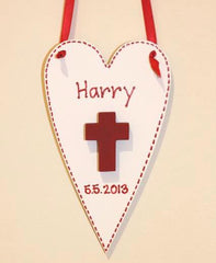 Hand painted wooden holy communion or christening heart in white and red