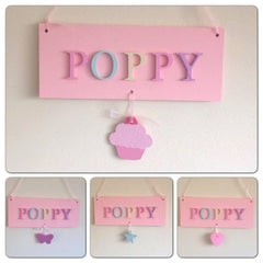 Girld handpainted wooden hanging plaque