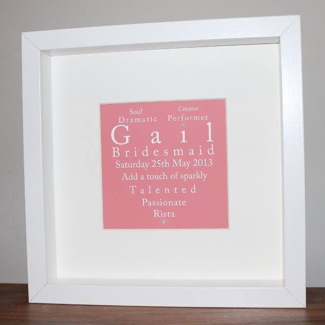 Framed personalised heart print for bridesmaids in pink