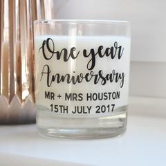 Personalised anniversary candle | scented candle for the home | natural soy eco wax | first anniversary gift, birthday, wedding, engagement
