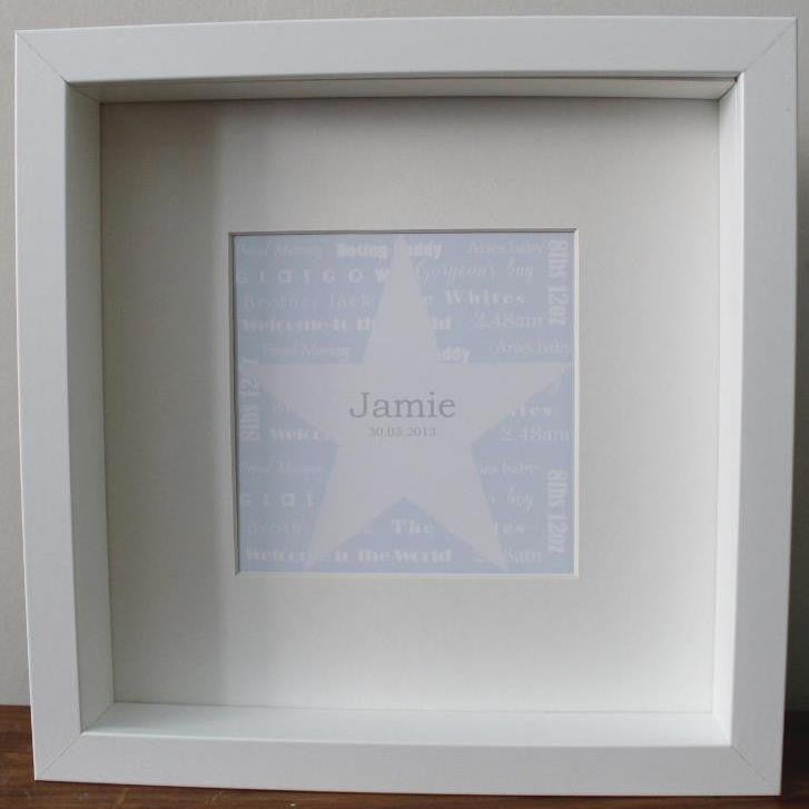 New baby personalised star print in blue