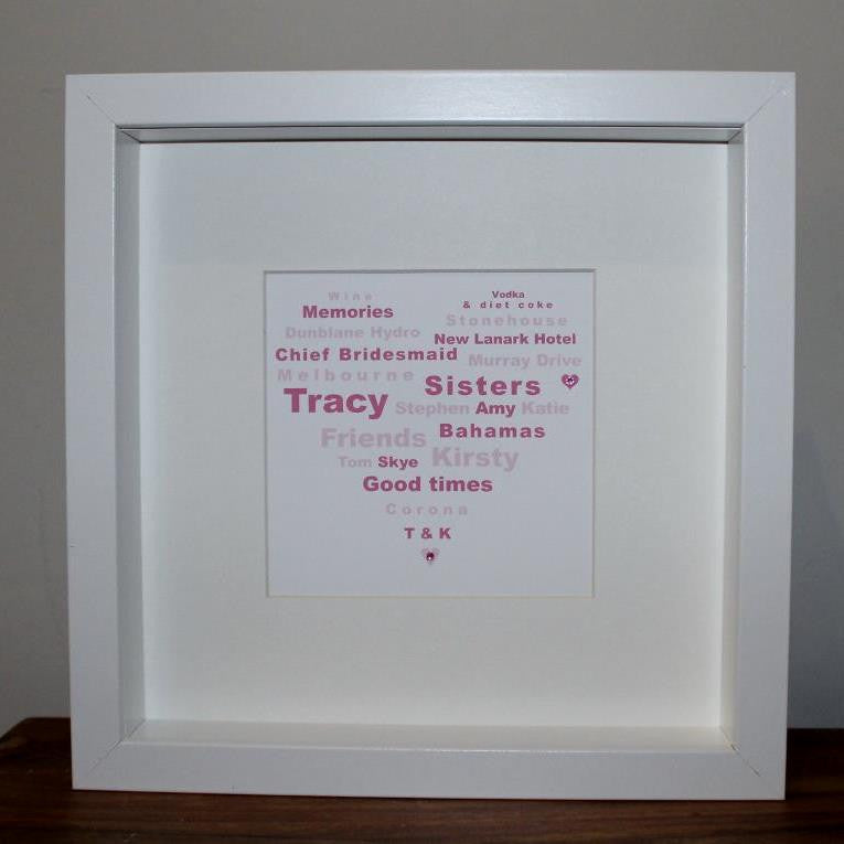 Small personalised heart gift frame
