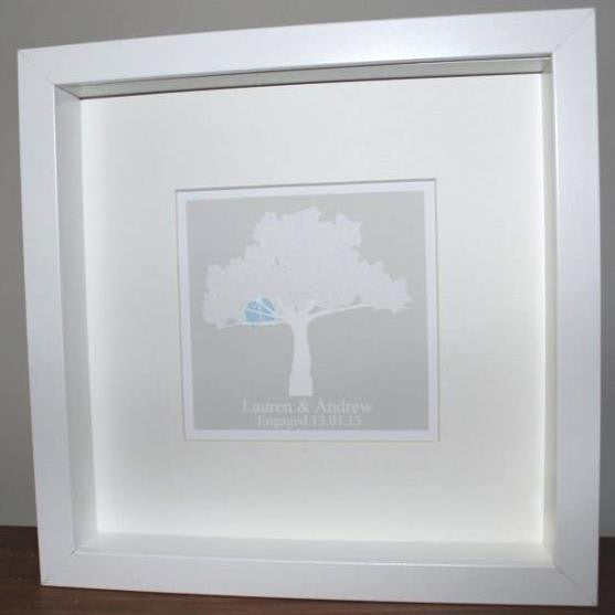 Lovebirds in tree personalised framed print