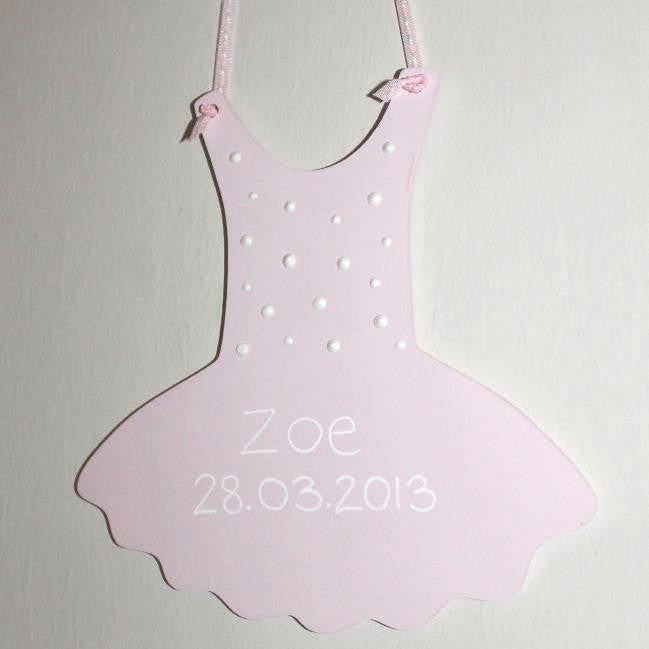 Handpainted wooden tutu with personalised baby information