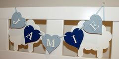 Handpainted wooden heart shaped name bunting
