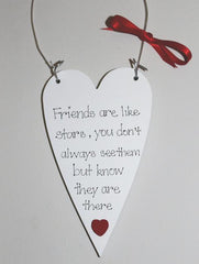 Handpainted wooden heart with friendship saying