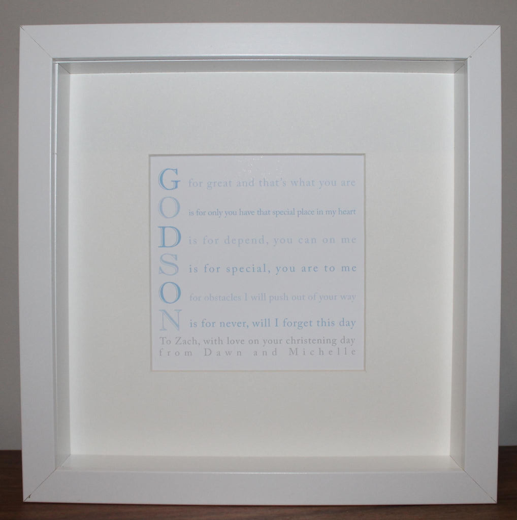 Godson poem personalised framed print – Secret Designs