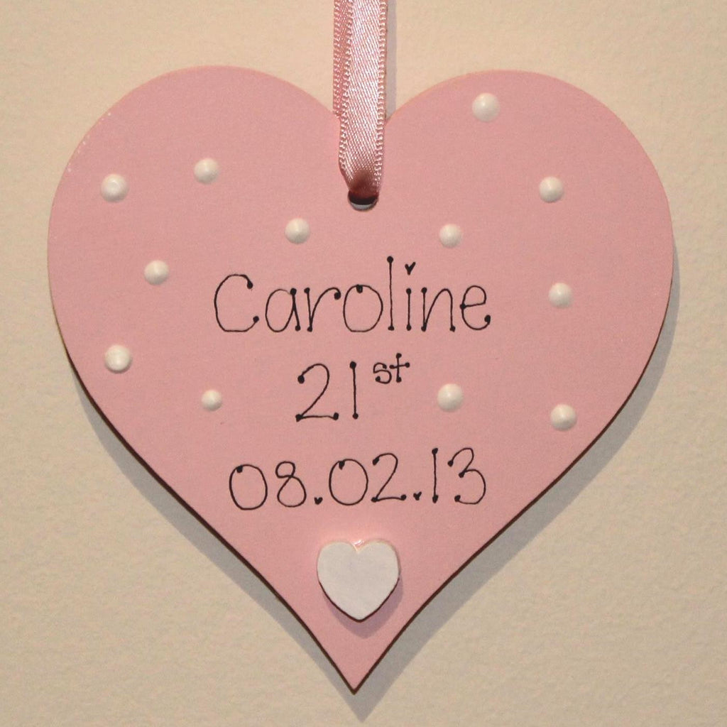 Pink handpainted wooden birthday heart