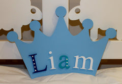 Blue hand painted crown shaped name plaque with wooden letters