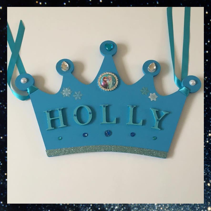 Frozen Crown Shaped Name Plaque