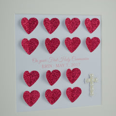 First holy communion personalised frame | 3D glitter hearts and pearl cross 1st communion gift for girl