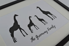 Giraffe Family Personalised print | New home gift | Housewarming present