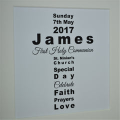 First holy communion personalised wordart frame | Wordart cross 1st communion gift for boy