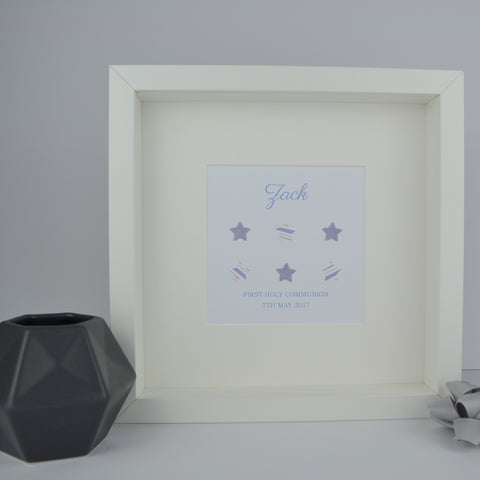 First holy communion personalised frame | 3D patterned stars and pearl cross 1st communion gift for boy