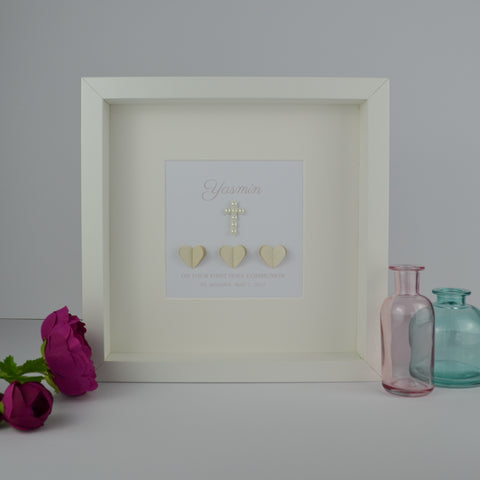 First holy communion personalised frame | 3D pearlescent hearts and pearl cross 1st communion gift for girl