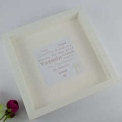 First holy communion personalised frame | heart of words and pearl cross 1st communion gift for girl