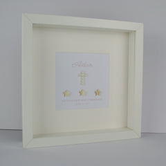 First holy communion personalised frame | 3D pearlescent stars and pearl cross 1st communion gift for boy