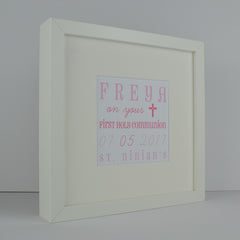 First holy communion personalised wordart frame | 1st communion gift for girl