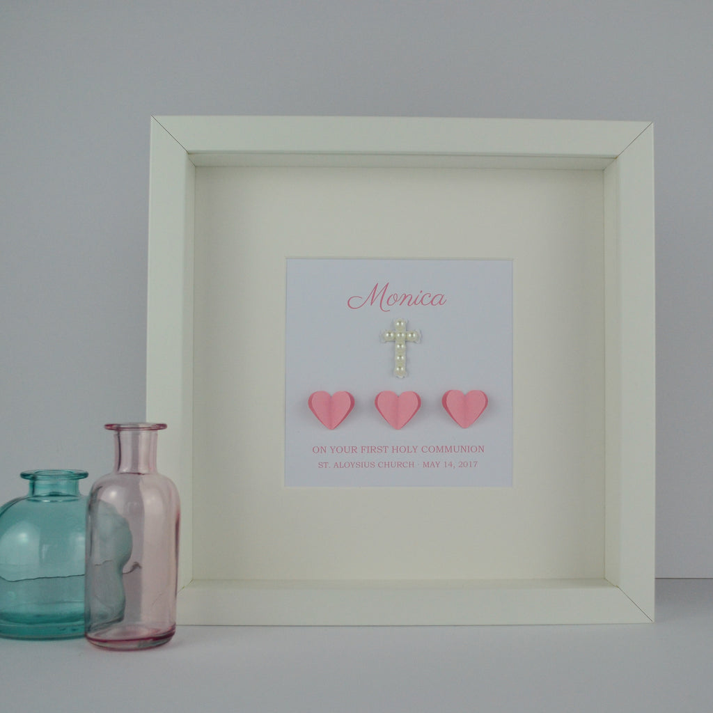 First holy communion personalised frame | 3D hearts and pearl cross 1st communion gift for girl