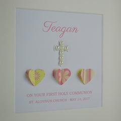 First holy communion personalised frame | 3D patterned hearts and pearl cross 1st communion gift for girl
