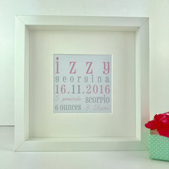Personalised new baby frame | Baby keepsake gift | Christening gift